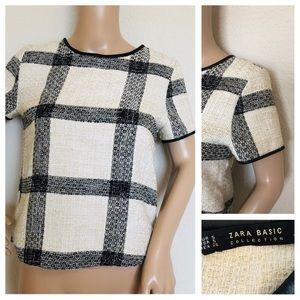 Zara basic plaid tweed top size small
